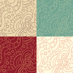 Set of four Abstract seamless pattern