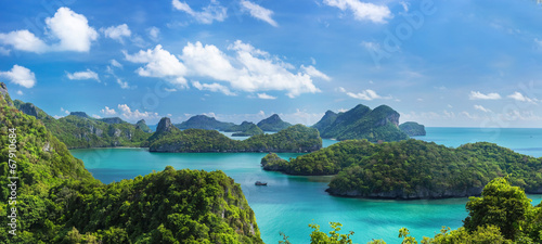 Poster Eiland Bird eye view of Sea Thailand, Mu Ko Ang Thong island National P