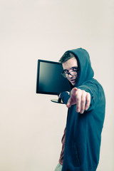 Man with monitor pointing