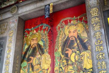 Door of the Qingshan Temple, Taipei - Taiwan.