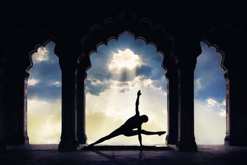 Yoga in old temple