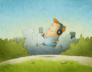 Illustration of happy man running in the morning with headphones