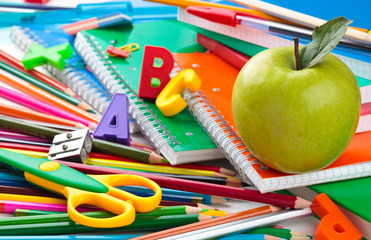 School supplies background.