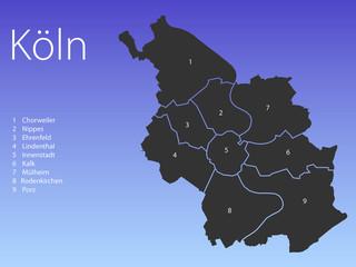 Landkarte Köln