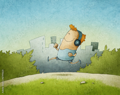 Illustration of happy man running in the morning with headphones - 67911620