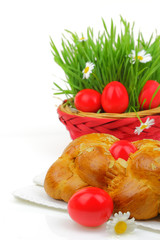 Sweet Easter bread with red eggs and green grass