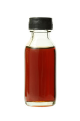 Medical bottle with brown liquid (with clipping path)