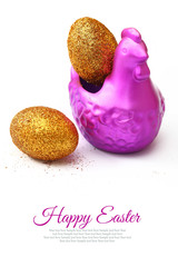 Chicken with golden eggs Easter decoration with copy-space