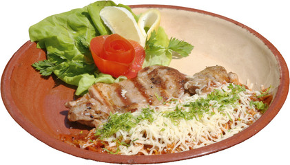 Barbecued Delicious chicken fillet with salad and cheese garnish