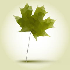 polygonal green maple leaf