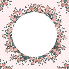 Retro background with pink roses.