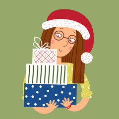 Girl in glasses with gifts for Christmas