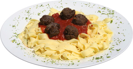 Italian pasta with Tortellini and tomato sauce and meat balls