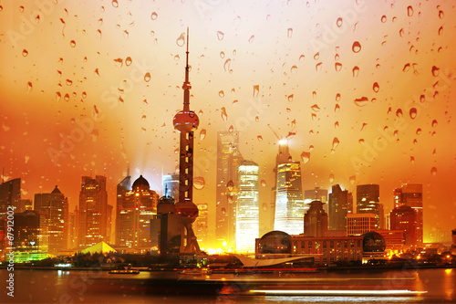 Poster Beautiful Shanghai Pudong skyline