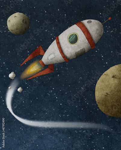 Illustration of a rocket flies through space