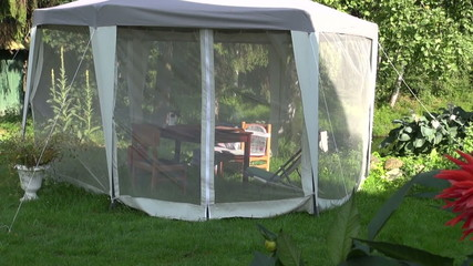 Luxury white tent with protection from mosquito in garden