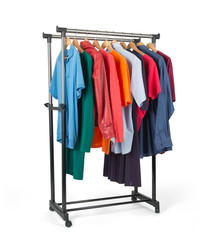 Mobile rack with clothes on white background
