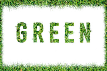 text word GREEN from green grass isolated