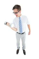 Geeky happy businessman lifting dumbbell