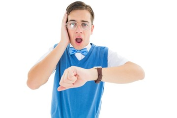 Geeky young hipster realising hes late
