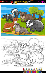 mustelids animals cartoon coloring book