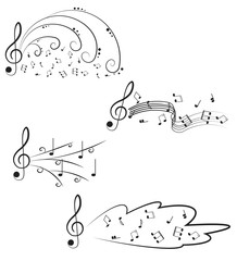 Music. Treble clef and notes for your design on a white