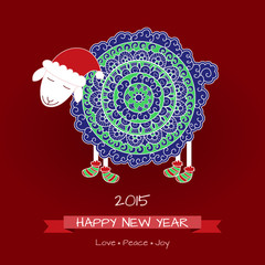 2015, Happy new year greeting card with cute sheep in Christmas
