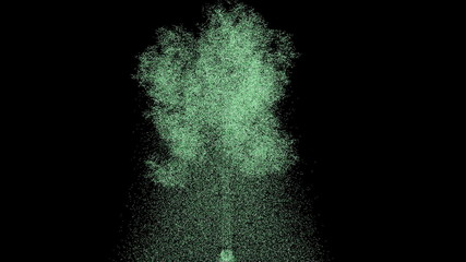 Tree made by particles against black background