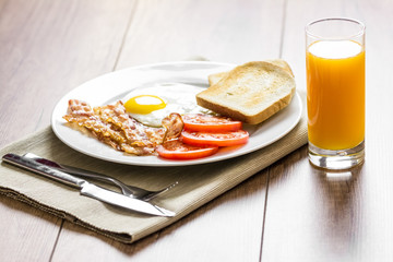 Healthy English Breakfast And Orange Juice