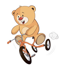 A stuffed toy bear cub and a children's tricycle cartoon