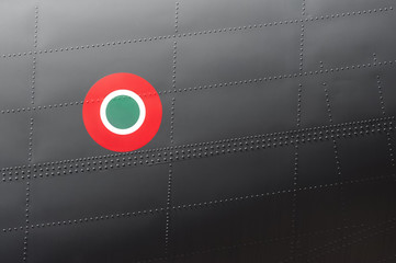 Italian airforce roundel symbol on an aircraft fuselage