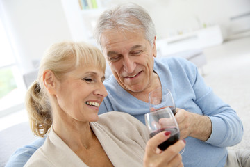 Senior couple at home drinking red wine