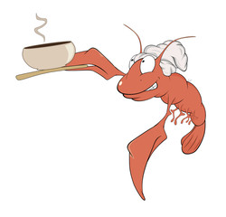 a red lobster a cook cartoon