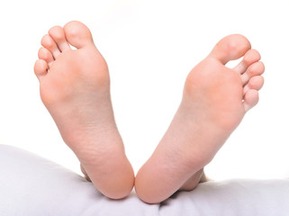 male feet, isolated on white background