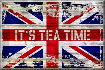 It´s Tea Time - Union Jack auf Holz