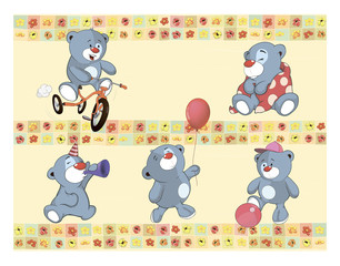 Border for wallpaper with stuffed bear cubs