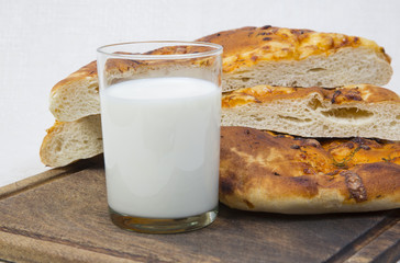 pita bread with milk. close-up