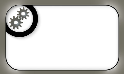black frame for entering text with cogwheels