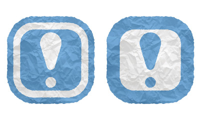 two frames with texture crumpled paper and exclamation mark