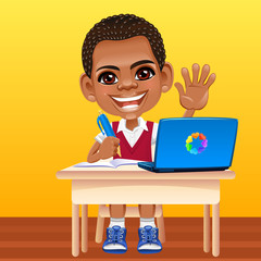 Vector happy smiling African schoolboy