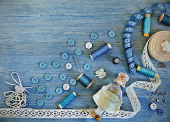 Buttons and thread, accessories for sewing and needlework