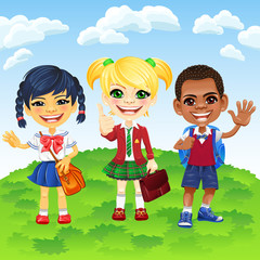 Vector smiling schoolchildren of different nationalities