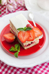 Piece of  strawberry cake