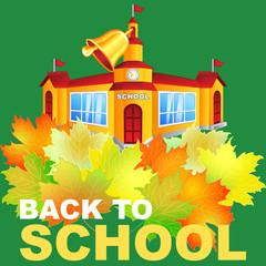 Vector autumn scene with a maple leaf and the school building