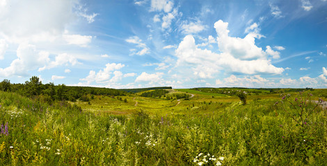 Hilly rural panoramic landscape. Summer, Ukraine.