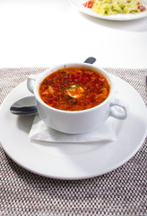 Soup. borscht in a white plate