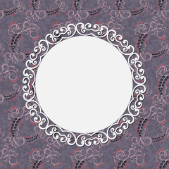 Seamless pattern with leaves and vintage frame