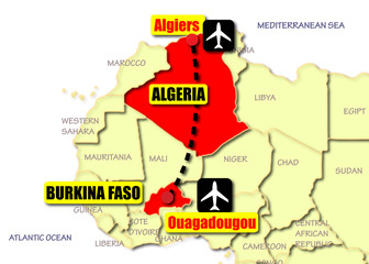 The route of the Algerian airliner from Burkina Faso to Algeria