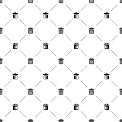 Vector seamless pattern, trash can