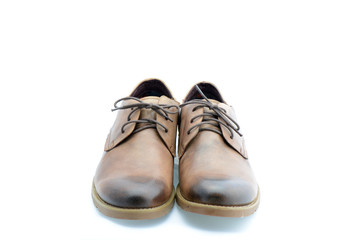 Leather brown shoes isolated on white background
